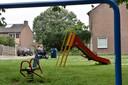 De speeltuin in de Engelenburgstraat in Arnhem, waar zondag een zogenoemde killerclown werd gezien.