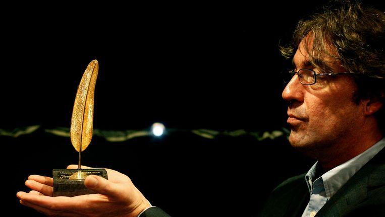 Joost Zwagerman in 2008 toen hij de Gouden Ganzenveer won. Beeld anp
