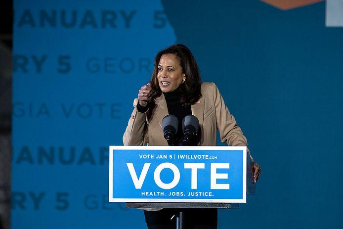 Aankomend vicepresident Kamala Harris spreekt op een campagnerally in Savannah, Georgia. (03/01/2021).