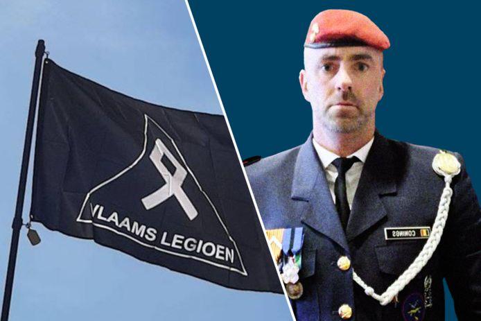 De vlag van het Vlaams Legioen en rechts de spoorloze militair Jürgen Conings.