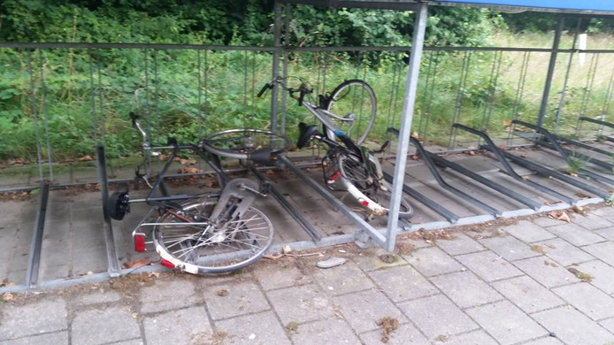 De fietsen lagen in de bosjes en boven op de stalling.