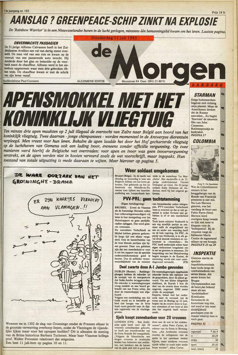 In juli 1985 kwam de aha-erlebnis van Michel Vandenbosch: de chimpansees die koning Boudewijn illegaal cadeau kreeg in Zaïre.'De Morgen' pakte uit met het schandaal. Beeld de morgen