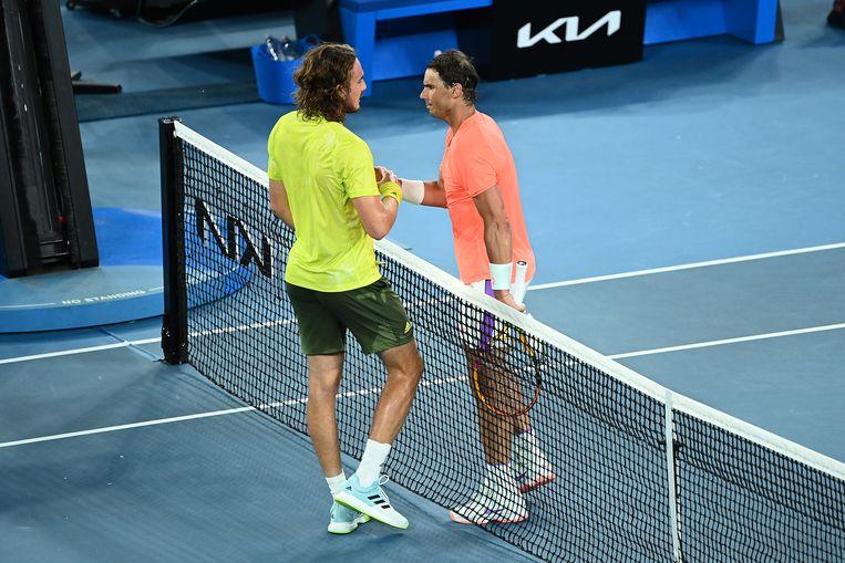 Tsitsipas en Nadal na de wedstrijd Beeld Getty Images
