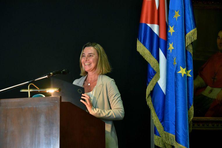 De hoge vertegenwoordiger voor Buitenlandse Zaken van de EU Federica Mogherini houdt een toespraak aan de San Geronimo Universiteit in Havana.
