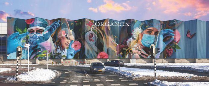Het nieuwe logo van Organon. De letters blijven zichtbaar, maar iets minder prominent.