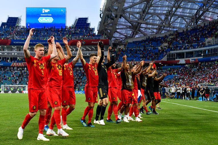 De Rode Duivels vieren de 3-0-zege tegen Panama. Beeld BELGA