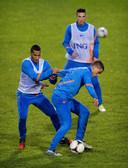 Ricardo van Rhijn en Ibrahim Afellay op de training van Oranje, in 2013