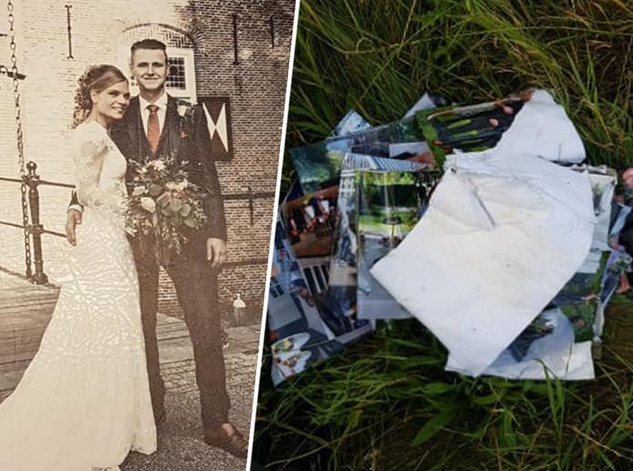 Het trouwboek van Feico Ernst en zijn bruid Evelien is compleet verscheurd teruggevonden langs de A28 bij Putten.