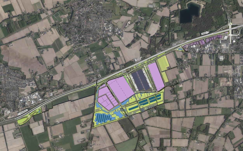 Stedenbouwkundige schets van Heesch West, inclusief de toevoerwegen naar de A59-knooppunten bij Nuland (links) en Heesch.