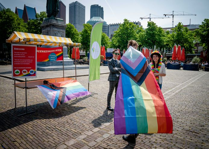 6 juni: protest tegen homogenezingstherapie op het Plein bij het Binnenhof.
