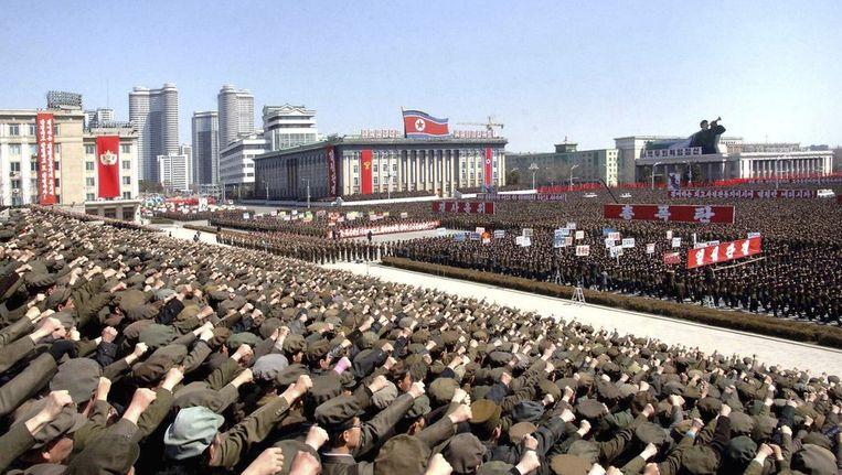 Eerder vandaag demonstreerden Noord-Koreanen in Pyongyang om hun leider te steunen. Beeld REUTERS