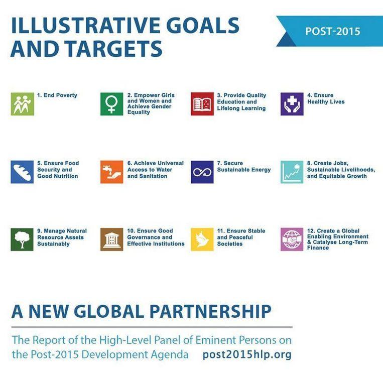 De 12 nieuwe VN-doelen voor na 2015. Beeld VN
