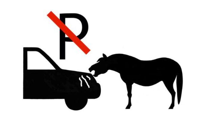 Pictogram van een knabbelend paard.