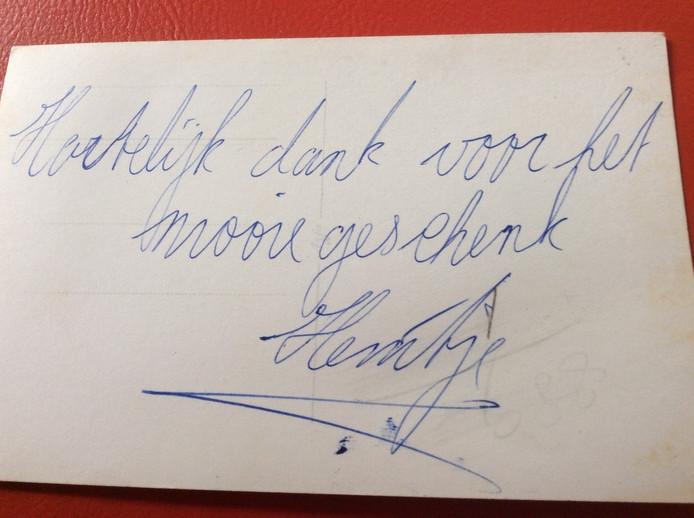 Tekst achterop de cvorige foto: geschreven bedankje van Heintje