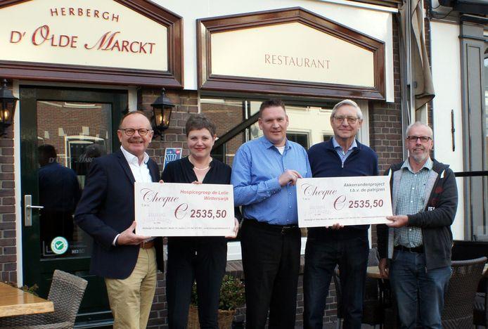 De overhandiging van de cheques in Aalten.