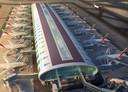Artist impression: zonnefolie op het dak van de terminal van Dubai Airport.