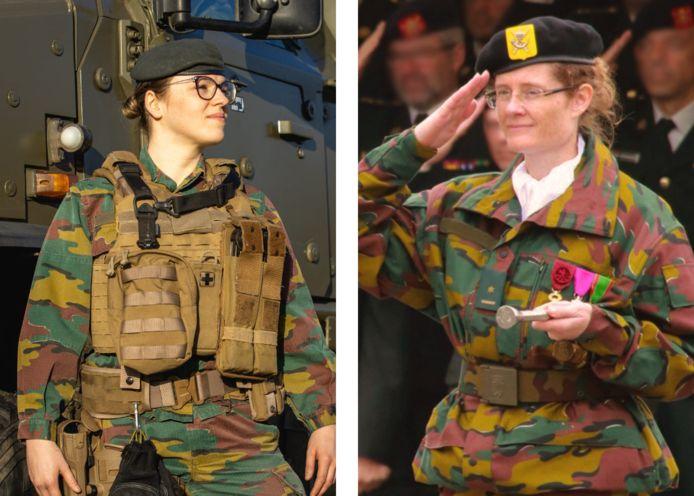 Links: sergeant Hanna. Rechts: luitenant-kolonel Françoise, toen ze nog majoor was.