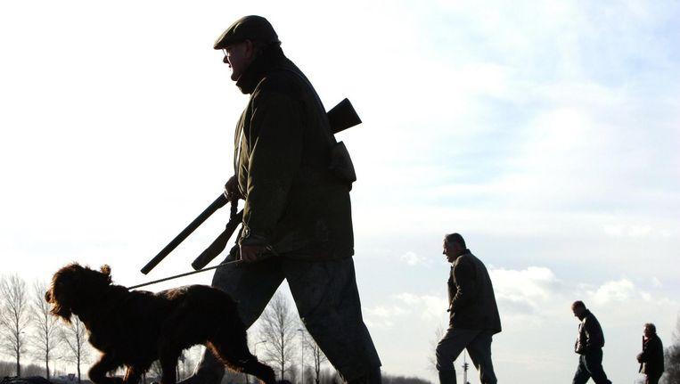 Groep jagers, met hond in het open veld van de Haarlemmermeer. Beeld anp