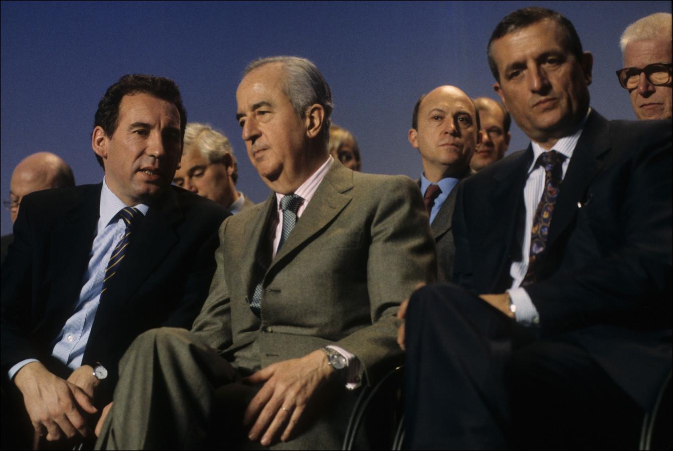 Edouard Balladur (au centre), alors Premier ministre, avec François Léotard (à droite) et François Bayrou (1995)