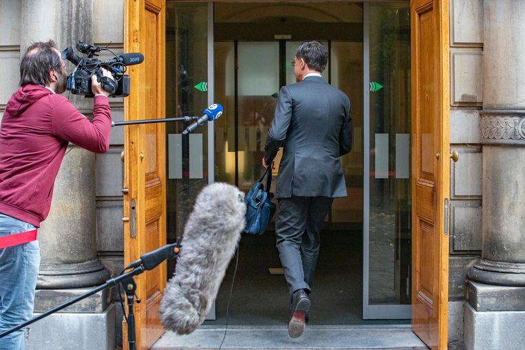 Premier Mark Rutte op het Binnenhof voorafgaande de wekelijkse ministerraad. Beeld BSR Agency