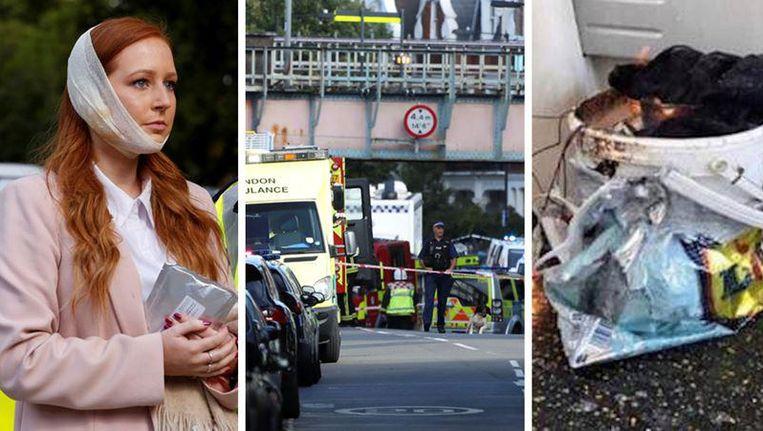 De meeste gewonden werden vertrappeld of liepen brandwonden op nadat een emmer in een plastic tas ontplofte. Beeld Reuters & Twitter