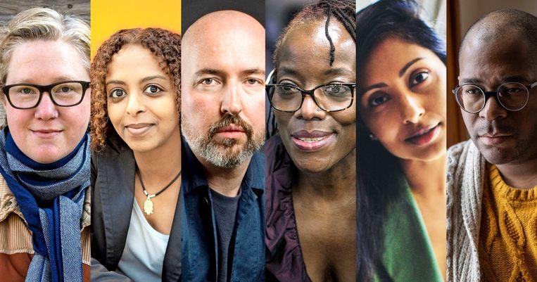Van links naar rechts: Auteurs Diane Cook, Maaza Mengiste, Douglas Stuart, Tsitsi Dangarembga, Avni Doshi en Brandon Taylor.  Beeld rv