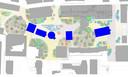 Een schetsontwerp van het Stadsforum met vijf grote kermisattracties ingetekend tussen het groen.
