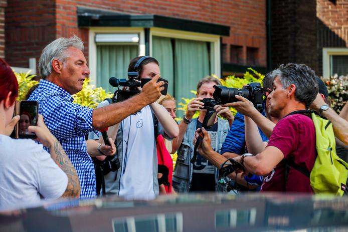 Pegida-voorman Edwin Wagensveld tijdens de uit de hand gelopen actie in Eindhoven.