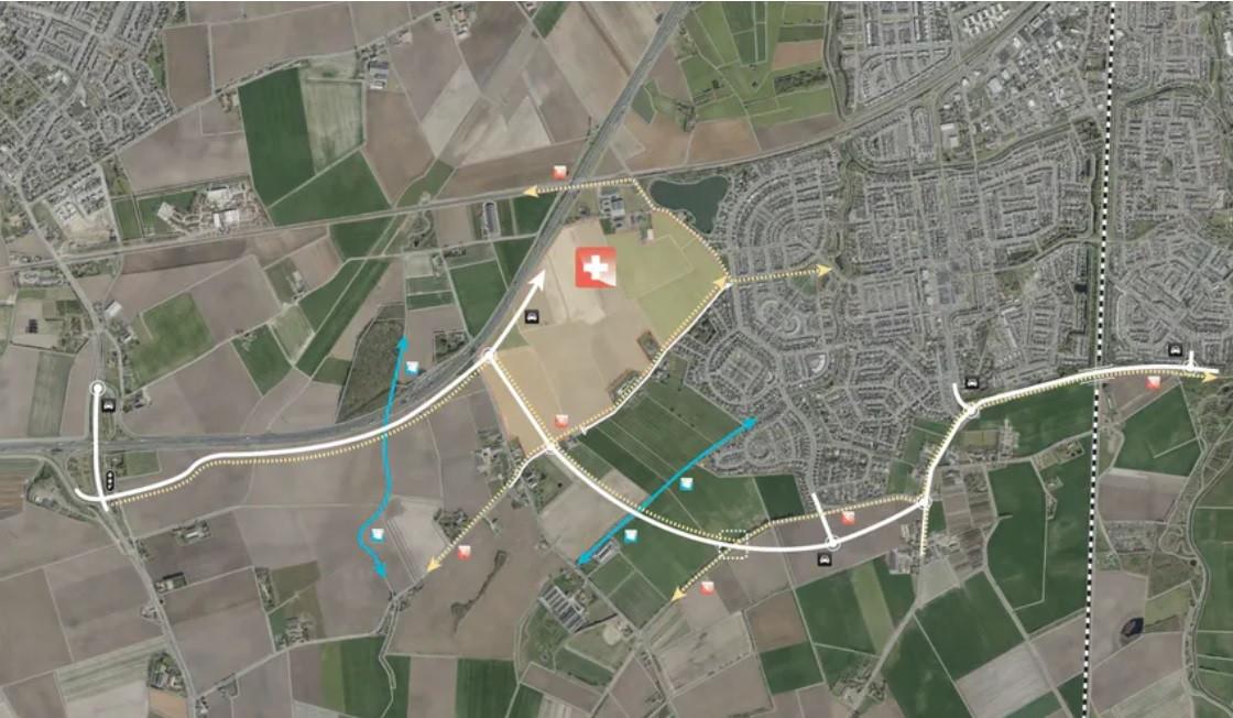 Een grove schets van hoe de zuidelijke ontsluitingsweg van Tolberg er uit moet komen te zien.