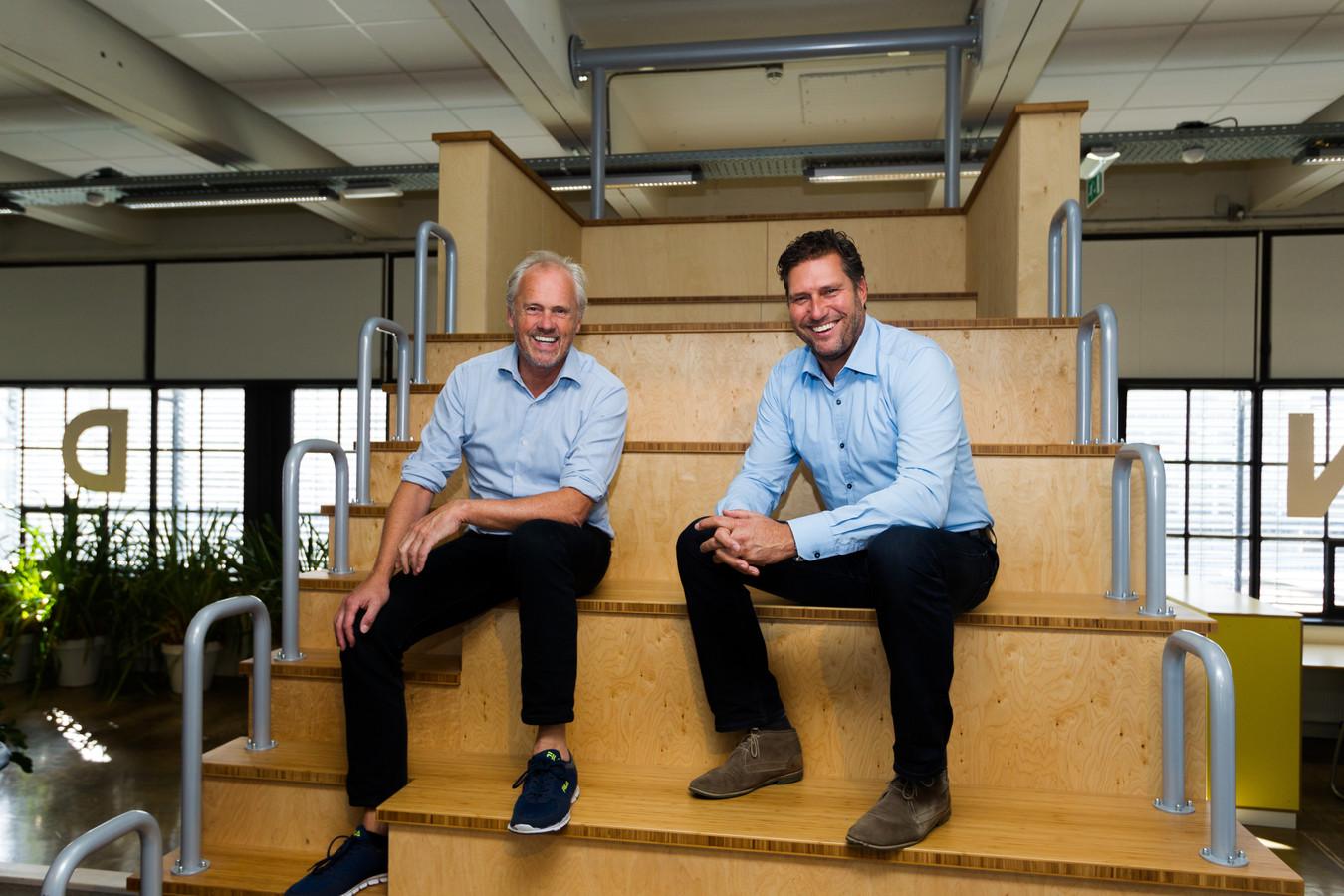Evert Fila (links) en Reinier van Doorne van Sparkplug Ventures in hun nieuwe onderkomen op Strijp-S.