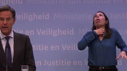 """Nederlandse doventolk opnieuw héél sprekend met gebaar voor """"als je het thuis niet uithoudt"""""""