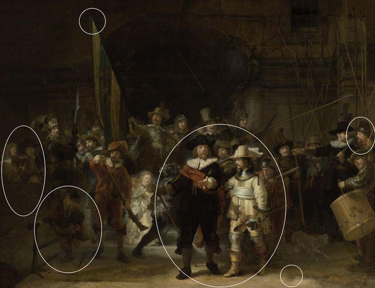 De reconstructie van 'De nachtwacht', met onder meer drie extra figuren links en een personage meer rechts. Beeld Rijksmuseum Amsterdam