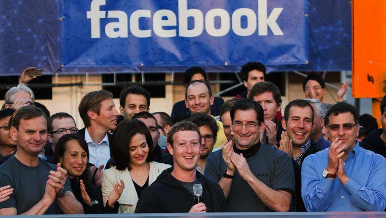 Mark Zuckerber bij de beursgang van Facebook Beeld AP