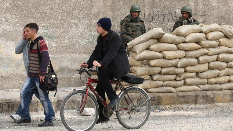 © ANP. Een Syrische militaire bunker in de stad Harasta, 9 km ten noorden van Damascus. 15-02-2012 Beeld