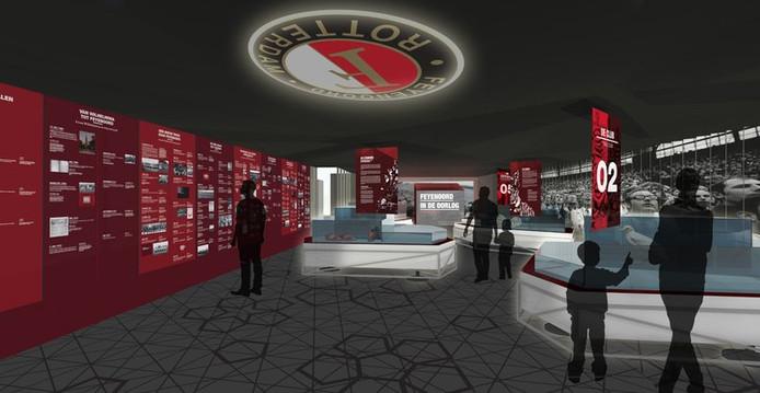 Een impressie van het Feyenoord Museum op de nieuwe locatie.