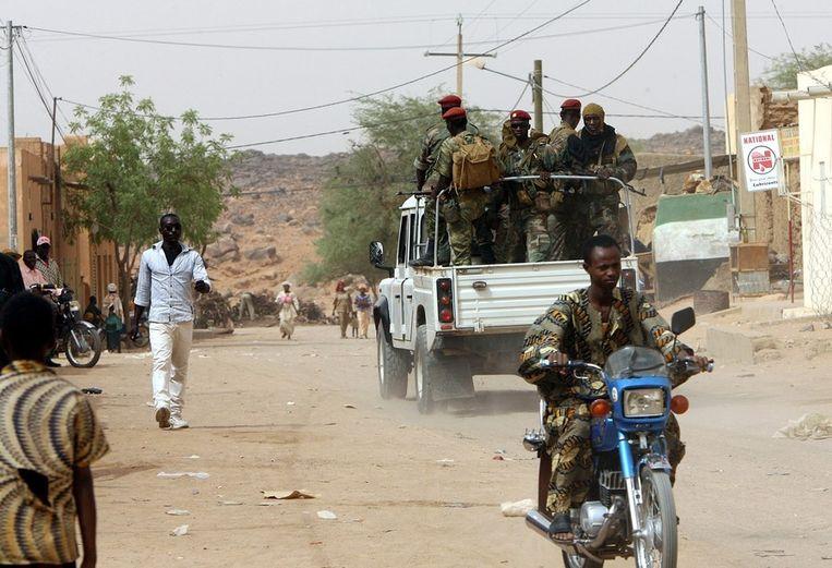 Malinese soldaten in de straten van Kidal, op 27 mei van dit jaar Beeld afp