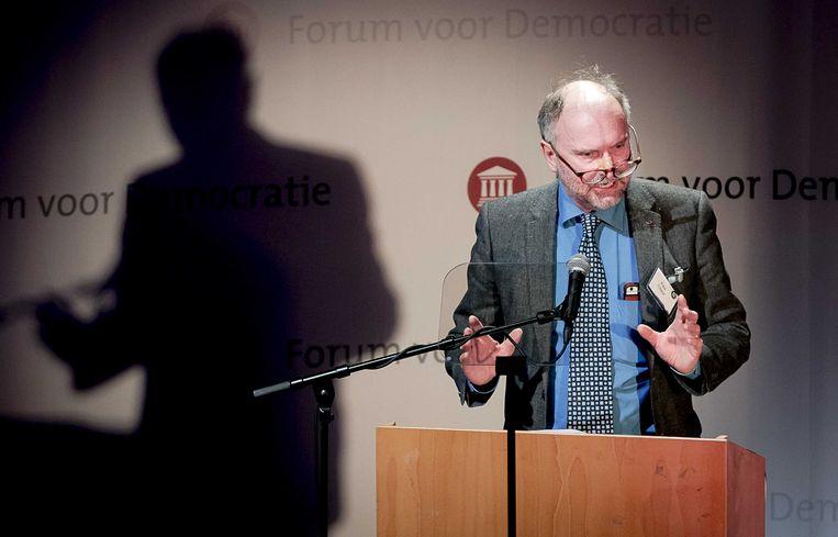 Paul Cliteur  tijdens een partijcongres van Forum voor Democratie. Beeld ANP