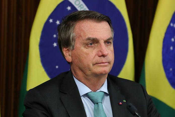 De Braziliaanse president Jair Bolsonaro donderdag tijdens de virtuele klimaattop met internationale leiders.