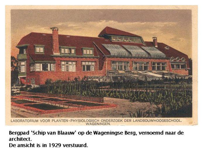 Foto uit 1929 van 'Het Schip van Blaauw', destijds een luxe accommodatie voor studenten. FOTOBRONfoto Historische vereniging OudWageningen