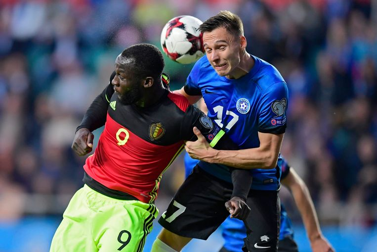 2017: Lukaku in duel in de return tegen Estland in Tallinn.