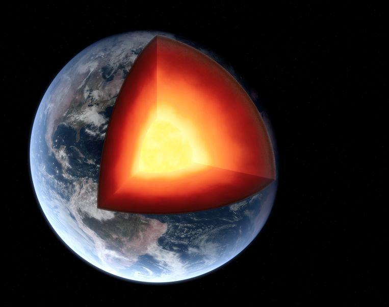 Een doorsnede van onze planeet: de binnenkern heeft nog lang niet al zijn geheimen prijsgegeven. Beeld Getty Images