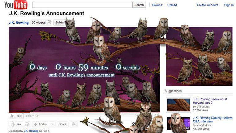 De YouTube-pagina van Rowling, in afwachting van de aankondiging. Beeld