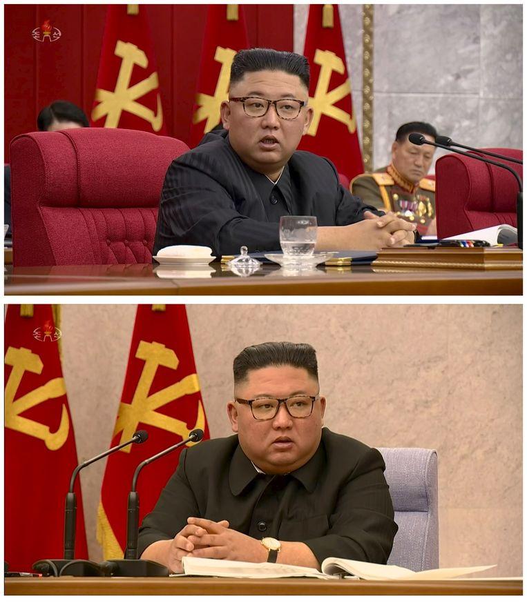 Kim Jong-un in juni (boven) en in februari (onder). De Noord-Koreaanse leder is zichtbaar afgevallen. Beeld REUTERS