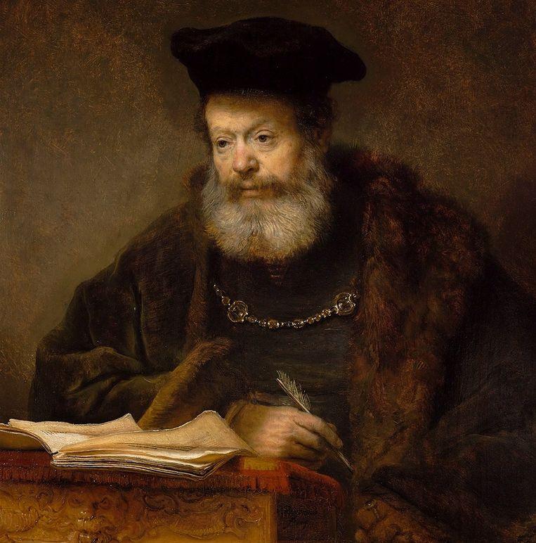 'De geleerde aan zijn lessenaar' van Rembrandt. Beeld
