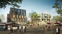 Een artist's impression van het nieuwe plein met hotel dat moet komen op de plek van het oude gemeentehuis.