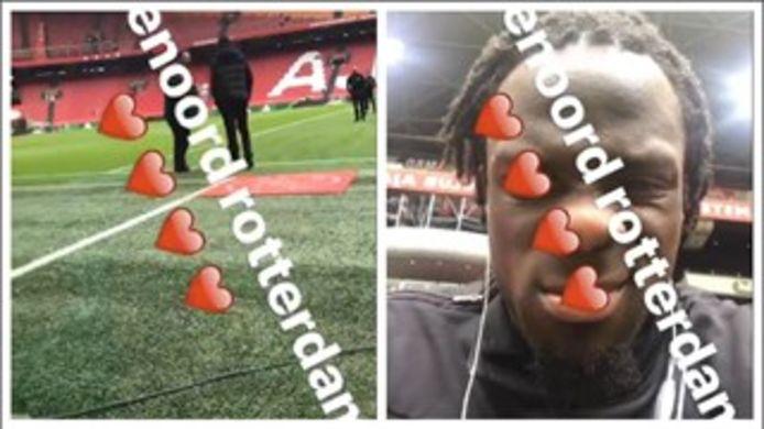 Elvis Manu verkondigt openlijk steun aan Feyenoord via zijn socialmediakanaal Instagram.