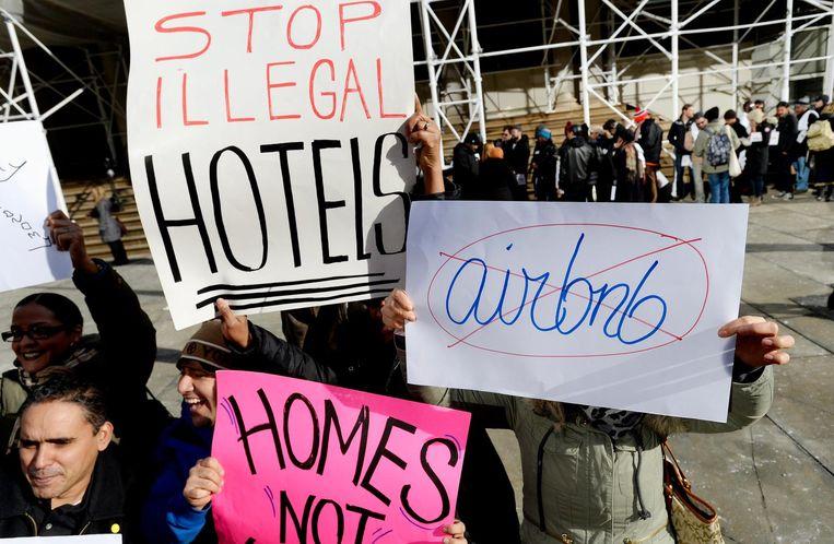 De demonstraties tegen Airbnb-uitwassen in New York. Beeld anp