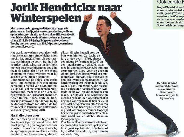 Het stuk over Jorik Hendrickx, zaterdag in uw krant. Beeld HLN
