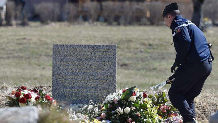 Een gedenkplek bijk Le Vernet, in de buurt van de locatie waar het vliegtuig neerstortte. Beeld anp