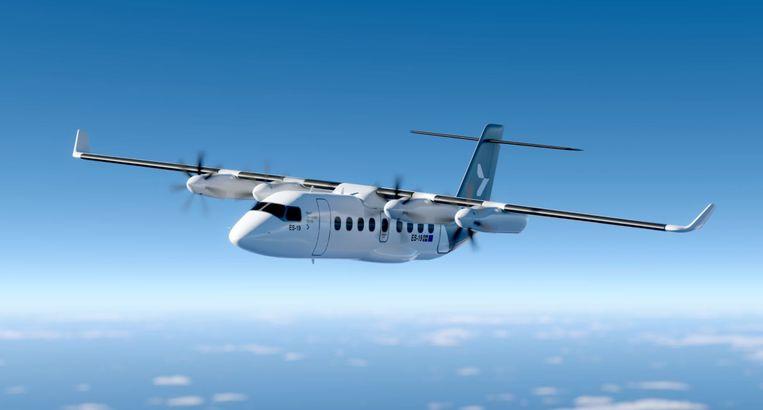 Zo gaat het toestel eruit zien: de ES-19 van Heart Aerospace. United Airlines heeft er honderd van besteld. Beeld Heart Aerospace